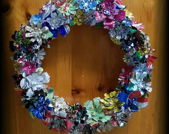 Upcycled/recycled soda can flower wreath