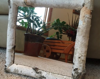 12x12 Natural Birchwood Mirrored Frame (#537)