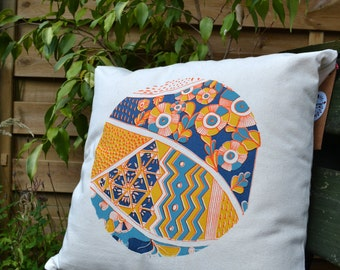 Hand printed decorative pillow
