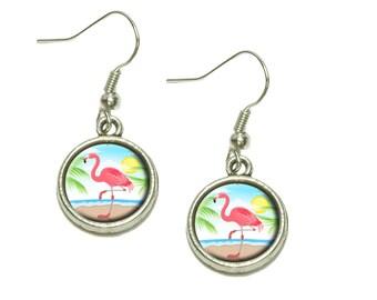 Flamingo and Palm Tree Beach Vacation Dangling Drop Charm Earrings