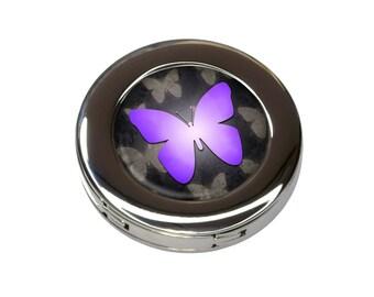 Purple Butterfly Butterflies Foldable Purse Handbag Hook Hanger Holder