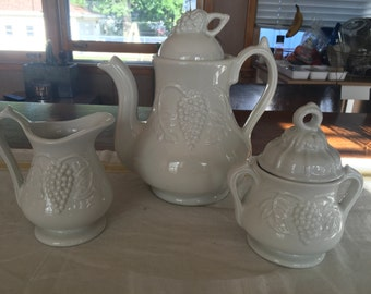 Red-Cliffe Stoneware Grapes pitcher, sugar bowl, creamer set.