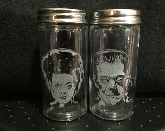 Custom-etched glass salt & pepper shakers