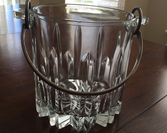 Italian Cut Crystal Vintage Ice Bucket With Siver Metal Handle