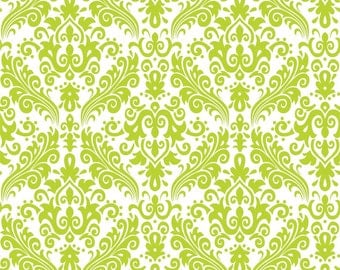Lime Green Damask Cotton Fabric - Hollywood Damask Lime on White Riley Blake Designs - High Quality Fabric - Girl Fabric - Sewing Projects