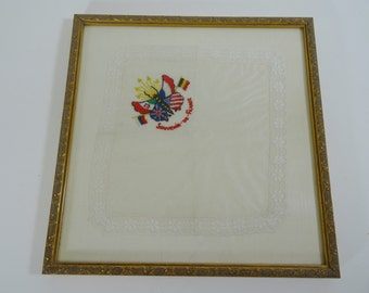 Framed Vintage Embroidered Handkerchief