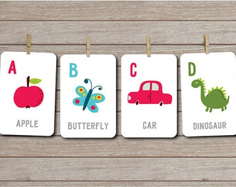Alphabet Flash Cards, Instant Download, Alphabet Card Set, ABC Flash Cards, ABC Cards, Preschool cards, Learning printables