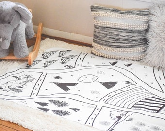 Play mat, travel toy, kids playmat, toddler road playmat, play town. Woods and desert fun for all kids. Unplug and use their imgination