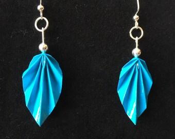 Blue Origami Leaf Earrings
