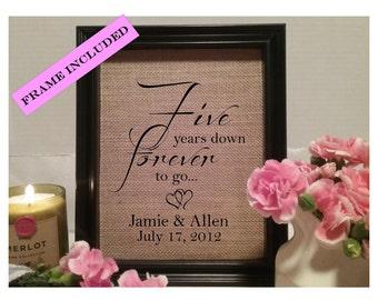 FRAMED Five Years Down Anniversary Burlap Print 5 Year Wedding