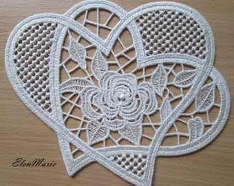 MACHINE EMBROIDERY DESIGN - Lace Heart _rose