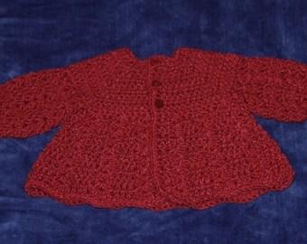 Crochet Baby Sweater, Preemie, Maroon,  Baby Sweater, Crocheted