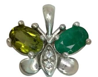 14k Emerald, Peridot & Diamonds Butterfly Pendant W-Y-R.