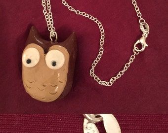 Handmade Polymer Clay Owl pendant w/Sterling Silver necklace