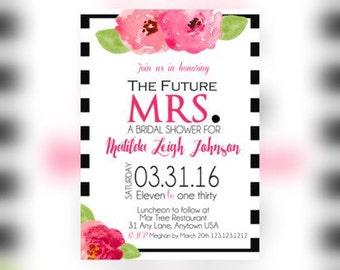Flower Bridal Shower Invitations, bridal Shower Party, Stripes Invitation, Elegant Bridal shower, Bridal Luncheon