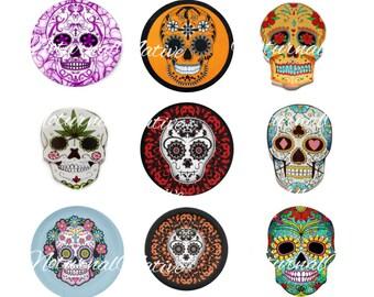 INSTANT DOWNLOAD !!! -  2 Sheets !!!  Day of the Dead / Sugar Skulls /  - Digital Collage 1 inch Bottlecap Images - Buy 1 Get 1 Free !!!
