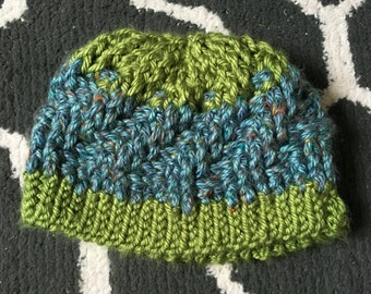 Crochet Green/Blue Winter Hat