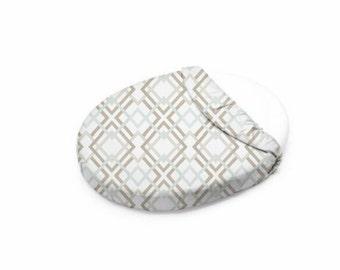 Seafoam Blue and Tan Geometric Oval Crib Sheet   Stokke Crib Sheet   Leander Crib Sheet