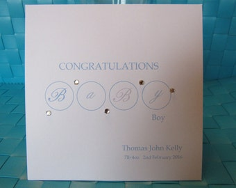 New Baby Boy personalised card blue