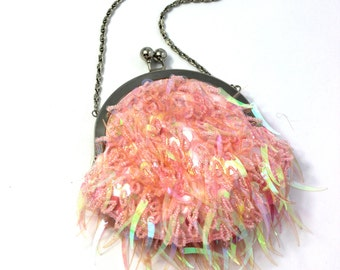 Pink beaded special occasion purse / wristlet