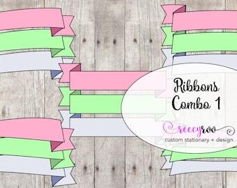 Ribbons Clip Art- Combo Pack 1