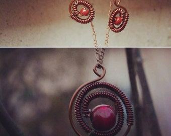 Red and copper jewelry set, necklace and earrings, bohemian, curly, handmade