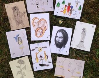 Package of 10 illustrated Postcards, Gift Cards, Illustration, Postcards, Paper Goods