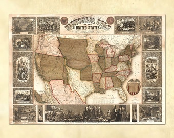 Pictorial Map Of The United States from 1849 - Vintage U.S. Atlas Map - Printable Download