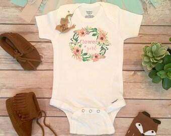 Flower Girl Onesie®, Cute Baby Clothes, Baby Girl Clothes, Flower Girl Outfit, Boho Flower Girl Baby, Floral Wreath Onesie,Boho Baby,Wedding