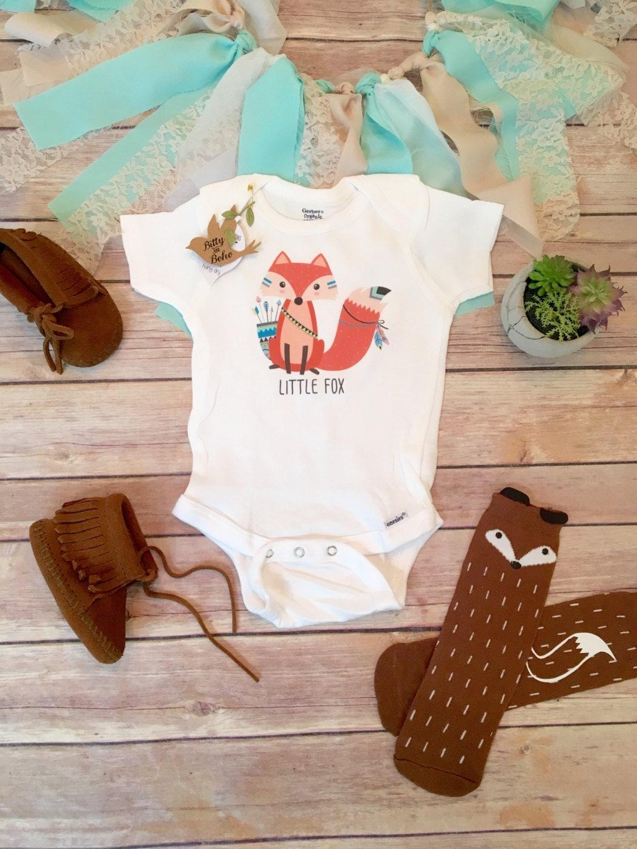 Little Fox Baby esie Boho Baby Clothes Tribal Baby