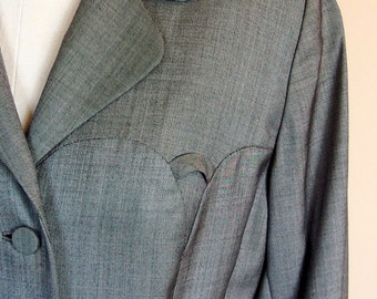 1940s Women's Blazer Jacket Gray Wool Gabardine