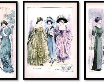 Edwardian Fashion Illustrations Set of 3 Art Prints Ladies Costumes, Party Dresses, Masquerade