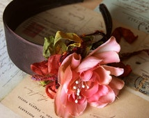 Handmade Vintage Style Brown Colour Headband with Rusty Pink Flower