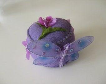 Purple Dragonfly Felt Pincushion