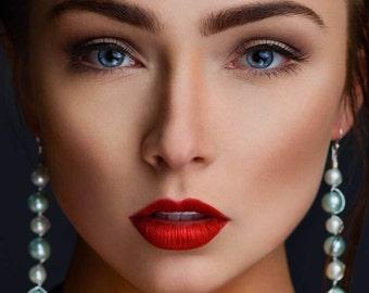 LMG Jewelry: Long Pearl Dangling Earrings