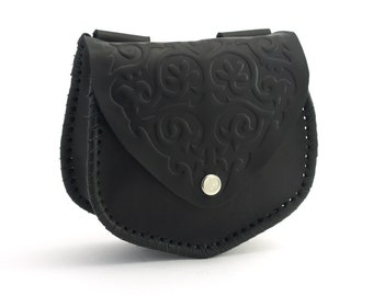 Black leather waist bag with embossed ornament folk of the nineteenth century, Hip bag made of 100% genuine Leather