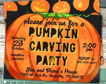 Pumpkin Carving Party Watercolor Printable Invitation Print at Home