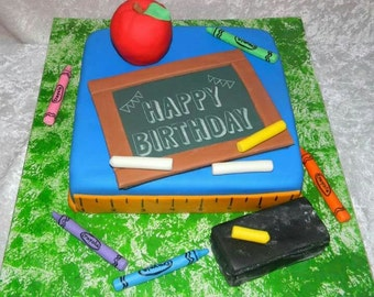Fondant Teacher School Cake Toppers