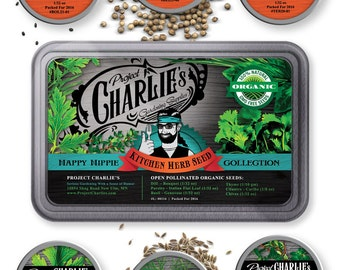 Project Charlie's Organic Kitchen Herb Seeds Set - Dill, Parsley, Basil, Thyme, Cilantro, Chives