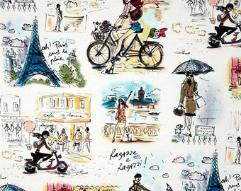 Robert Kaufman Who's that Girl Paris Fabric Kaufman Who's that Girl Paris Collage kaufman who's that girl fabric kaufman paris fabric