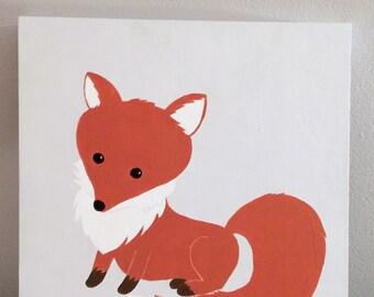 Little fox wooden canvas