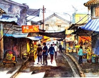 1983 Old Street in Tai O, Hong Kong, Original Print Color of Watercolor Artwork