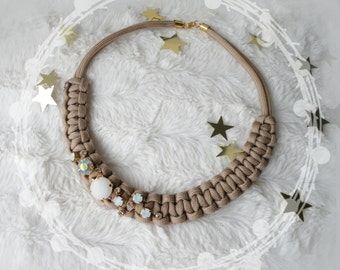 big macrame necklace with white crystals - beige