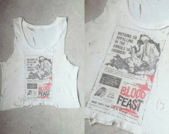 Made To Order Destroyed Blood Feast Cropped Tank Top