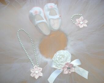 Christening Baptism Set White shoes baby Crochet Baby Booties Fluffy skirt baby TUTU Booties Crochet slippers little girl Baby Baptism gift