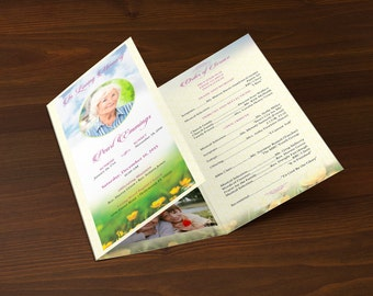 Memories Tri-Fold Funeral Program Publisher Template
