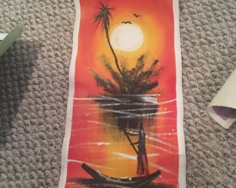 Authentic Ghanian Painting, canoe, ghana, african, oil painting, africa
