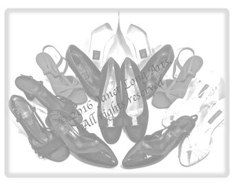 "INSTANT DOWNLOAD Adult ColoringPage Vintage ""SHOES"" in grayscale for you to color the Artist's Way!"