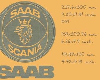 Saab logo, machine embroidery designs, three sizes, instant download