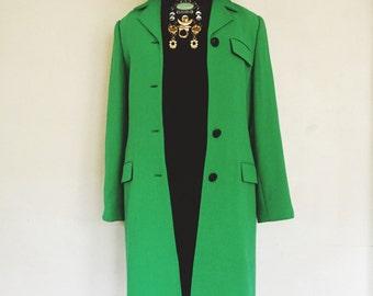 Oscar de la Renta Pure Wool Long Jacket - Kelly Green, As Is